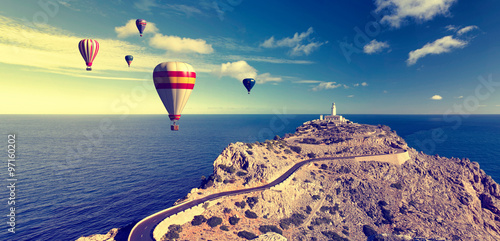 Foto op Aluminium Ballon hot air balloons and formentor