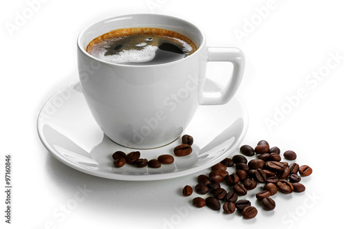 Wall Murals Cafe A cup of tasty drink and scattered coffee grains, isolated on white