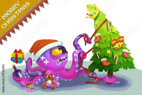 Illustration: The Octopus Monster Comes to wish You Merry Christmas! Realistic Fantastic Cartoon Style Character / Holiday Card Design.