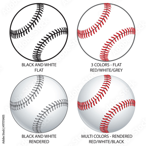 Various Vector Baseballs Wallpaper Mural