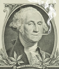 George Washington Smoking A Joint With Pot Leaves Along The Bottom Representing Decriminalization And Legalization Of Marijuana In The United States