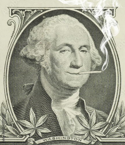 Fotografie, Obraz George Washington smoking a joint with pot leaves along the bottom representing