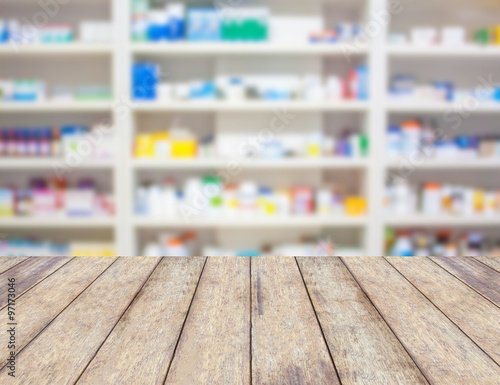 Poster Pharmacie blur shelves of drugs in the pharmacy