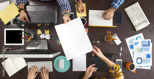 Fotografie, Obraz  Business People Working on an Office Desk