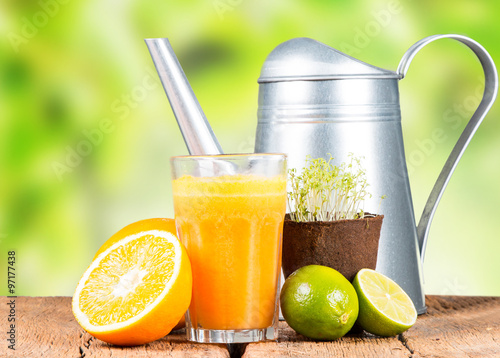 Recess Fitting Juice Fresh juice, Healthy drink on wood, Nature fruits