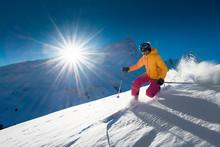 Girl Telemark Skiing Snow Slop...
