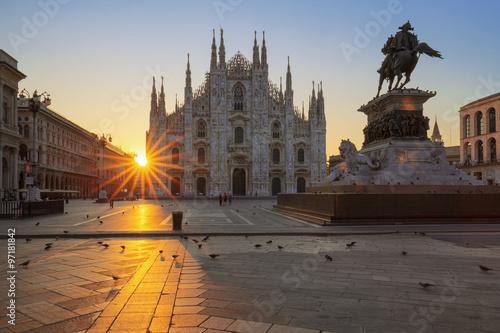 Garden Poster Milan Famous Duomo at sunrise