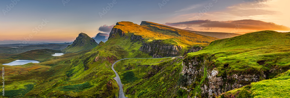 Fototapeta Quiraing mountains sunset at Isle of Skye, Scottland, United Kingdom