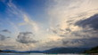 motion of white grey cumulus clouds above sea boats islands