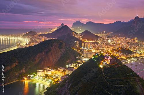 Deurstickers Brazilië Night view of Rio de Janeiro, Brazil