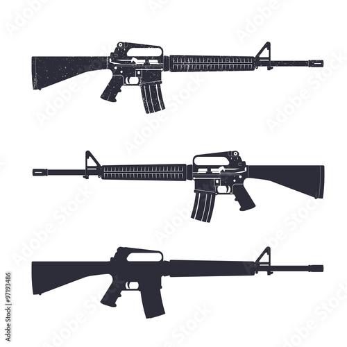 M16 assault rifle, 5.56 mm automatic gun, vector illustration Canvas Print