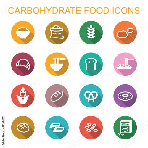Fotografía  carbohydrate food long shadow icons