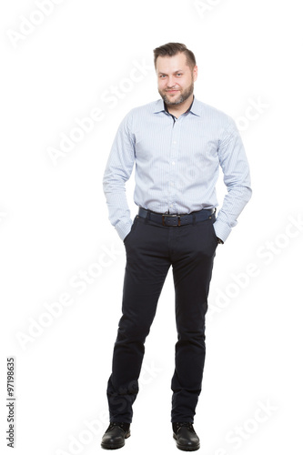 Male body language hands in pockets