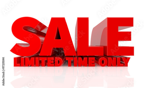 Fotografía 3D SALE LIMITED TIME ONLY word on white background 3d rendering
