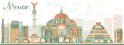 Abstract Mexico skyline with color landmarks. Some elements have transparency mode different from normal.