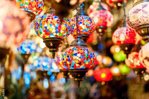 Traditional vintage Turkish lamps in the Grand bazaar in Istanbu Wallpaper Mural