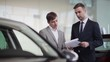 Salesman explains the customer car specifications