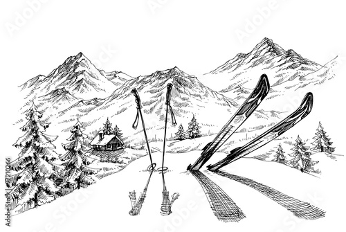 Fotografie, Obraz  Holidays at ski background, mountains panorama in winter sketch