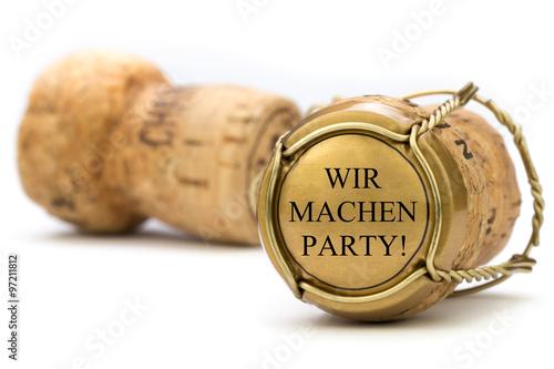 Wir machen Party! goldener Champagnerkorken