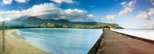 Fotografie, Obraz  Widescreen panorama of Hanalei Bay and Pier on Kauai Hawaii