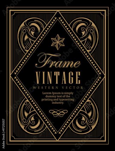 Fototapety, obrazy: Vintage frame label western retro border engraving antique hand