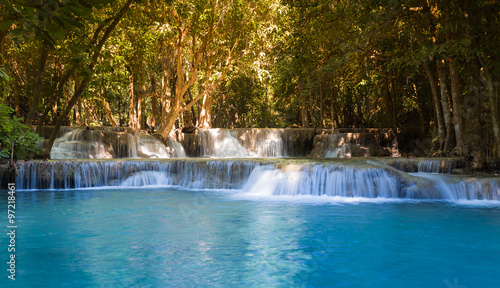 Fototapety, obrazy: Beautiful tropical blue stream waterfalls in deep forest national park