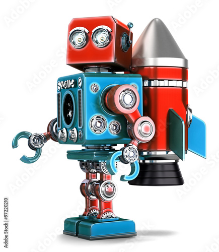 Photo sur Aluminium Art abstrait Retro Robot with rocket jetpack. Isolated. Contains clipping path