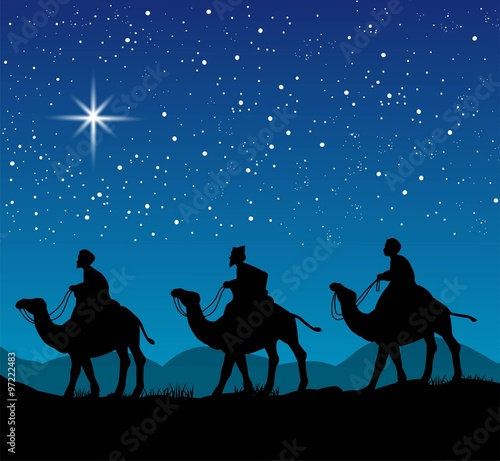 Christian Christmas scene with the three wise men and shining star, illustration Canvas