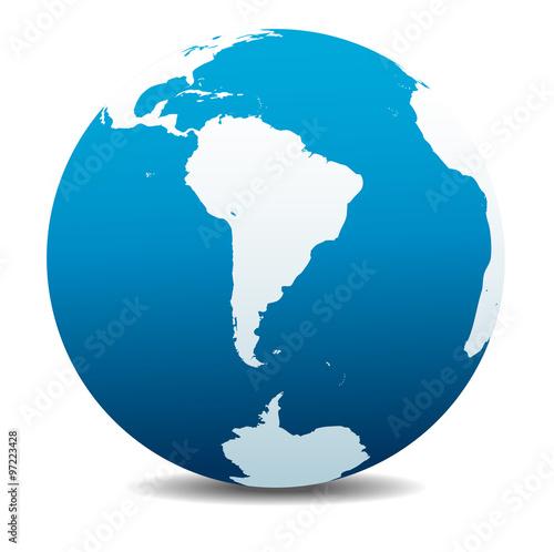 Fotografía  South America and South Pole Global World