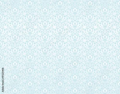Бесшовный голубой орнамент из силуэтов цветов и листьев тюльпанов и капель росы, растрированная версия. © anastasia_art