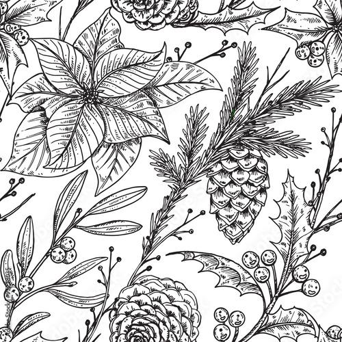 Stoffe zum Nähen Nahtlose Vektormuster mit Hand gezeichnet Winter Pflanzen