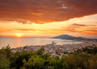 Zante town during sunrise on Zakynthos island in Greece