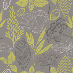 Tapeta Abstract floral seamless pattern. Vector background with different leaves