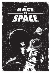 Panel Szklany Do pokoju chłopca Vintage space poster