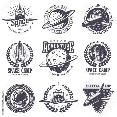 Fotografía Set of vintage space and astronaut badges
