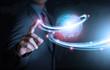 canvas print picture - Smart hand push futuristic connection technology