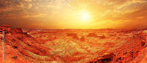 Aluminium Prints Brick sunrise, sunset skyline and landscape of red sandstone