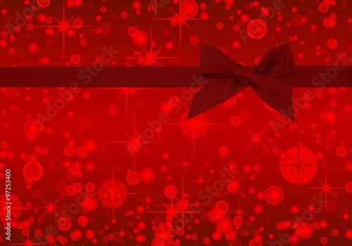 Fototapeta red ribbon on stars christmas red card obraz na płótnie