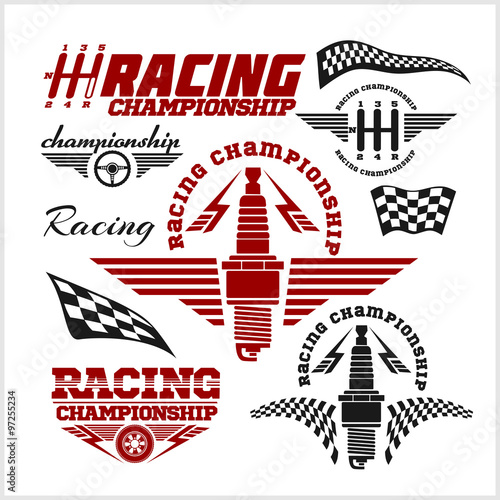 Car racing emblems and championship race vector badges - 97255234