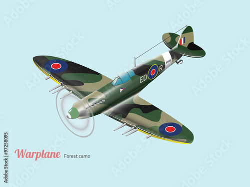 Fotografie, Obraz  World war British warplane isometric vector in green camouflage