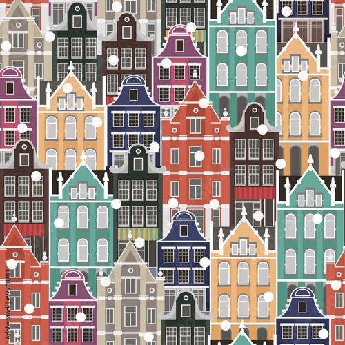 wektorowy-kolorowy-bezszwowy-wektorowy-tlo-z-holland-domami-narodowymi-i-sniegiem