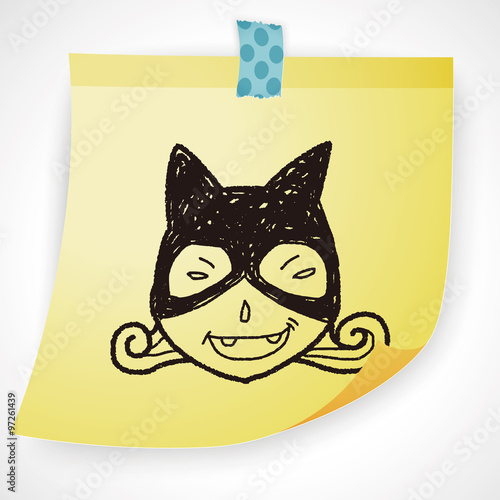 Fotografie, Obraz  cat woman doodle
