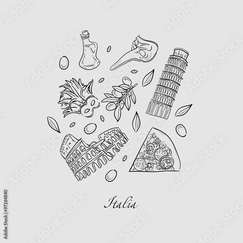 Photo  Set of Italy icons doodle hand drawn vector illustration