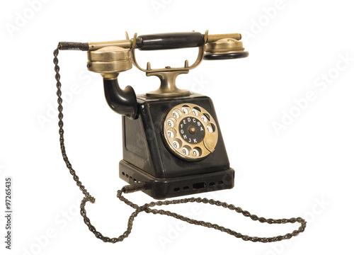 Poster  altes antikes wählscheiben-telefon um 1900