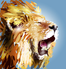 FototapetaVector illustration of a lion's head