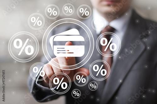 Fotografía  Toque empresario ciento botón comunicación tarjeta de crédito