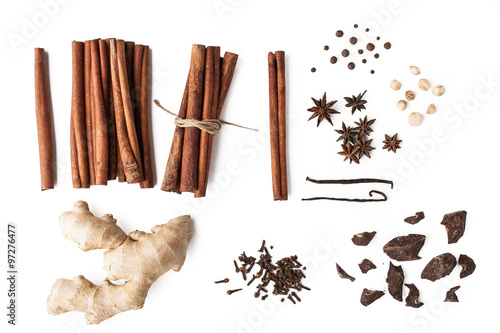 Fotografie, Obraz  Spices mix with chocolate on the white background