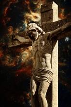 Crucifix And The Tarantula Nebula Background (Elements Of This I