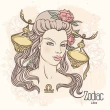 Zodiac. Vector Illustration Of Libra As Girl With Flowers.