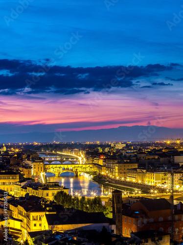 Fototapeta Panoramic sunset in  Florence obraz na płótnie